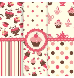 Set of cake patterns vector