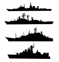 Four silhouettes of a ship vector