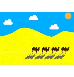 Flat camels going through the desert vector