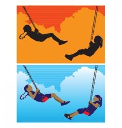 Girls on swing vector