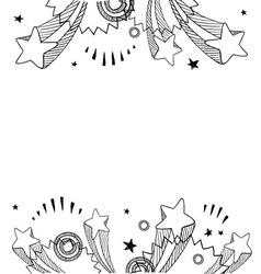 Doodle pop border horizontal vector