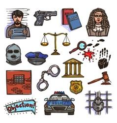 Law icon sketch color vector