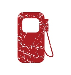 Red grunge gas station logo vector