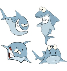 Set of cute sharks for you design cartoon vector
