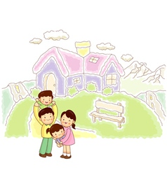 Happy family home vector