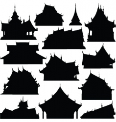 Temple building silhouettes vector