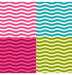 Set of wavy seamless patterns vector