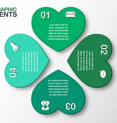 Modern green heart infographics options vector