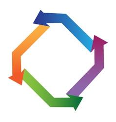 Arrows in diamond shape logo vector