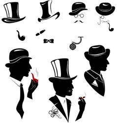 Men silhouettes smoking cigar and pipe vector