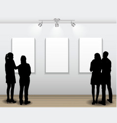 Peoples silhouettes looking on the empty frame in vector