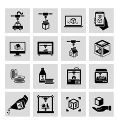 Printer 3d icons set vector