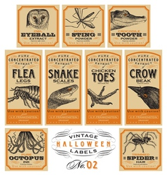 Funny vintage halloween apothecary labels - set 02 vector