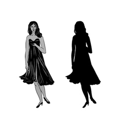 Silhouette of a girl with formal dress vector