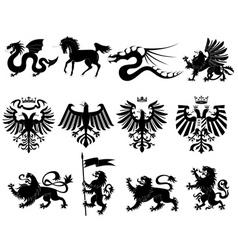 heraldic animals set 2 vector