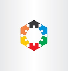 Color houses in circle icon vector