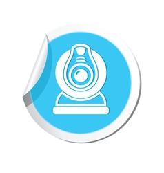 Web camera blue label vector