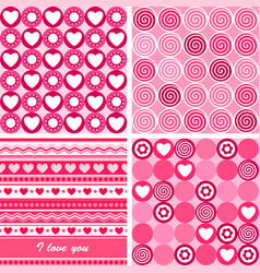 Set of four pink valentines day backgrounds vector