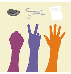 Rock paper scissors hand sign vector