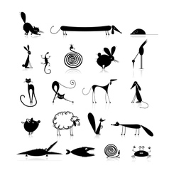 Set of 20 animals black silhouette for your design vector