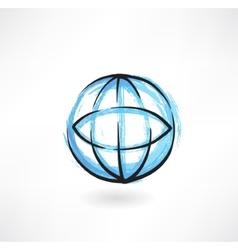 Earth grunge icon vector
