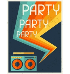Party retro poster in flat design style vector