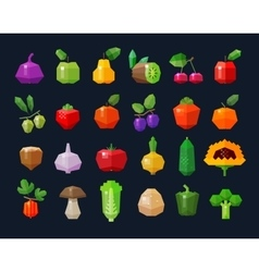 Fruits and vegetables fresh food icons set vector