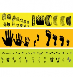 Animal and human tracks vector
