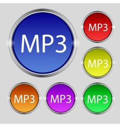 Mp3 music format sign icon musical symbol set of vector