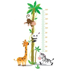 Meter wall with palm tree and funny animals vector