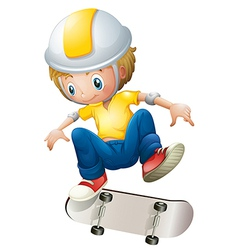 A boy playing with the rollerskate vector