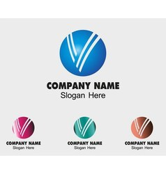 Sign the letter v branding corporate with circle s vector