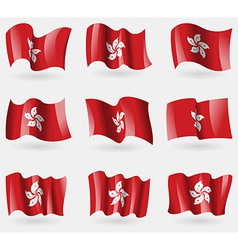Set of hong kong flags in the air vector