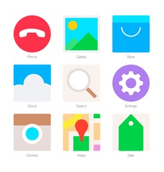 Minimal flat icons for mobile phones set 2 vector