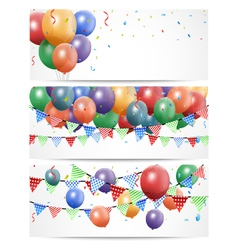 Colorful birthday balloon on white banner vector