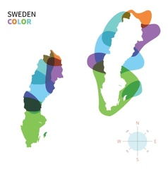Abstract color map of sweden vector