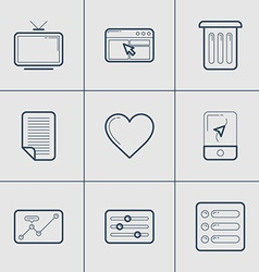 Set of modern thin line icons tv apps trash vector