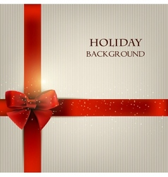 Elegant holiday background with red bow and space vector
