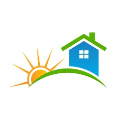 Style house with sun logo vector