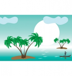 Tropical palm islands vector
