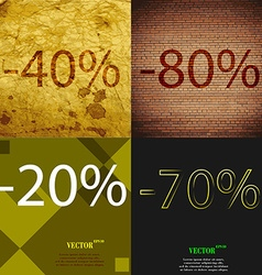 70 20 70 icon set of percent discount on abstract vector