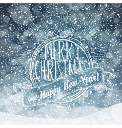 Merry christmas card with snow texture vector