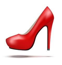 Red bright modern high heels pump woman shoes vector