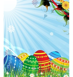 Easter eggs on a sunny meadow vector