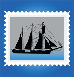 Postage stamps with ships vector