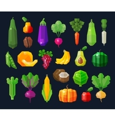 Vegetables and fruits fresh food icons set vector