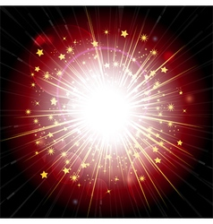 Red and gold light explosion vector