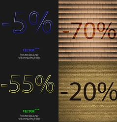 70 55 20 icon set of percent discount on abstract vector