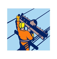 Power lineman telephone repairman electrician vector