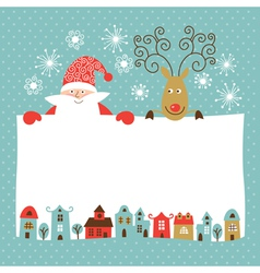 Funny deer and santa claus vector